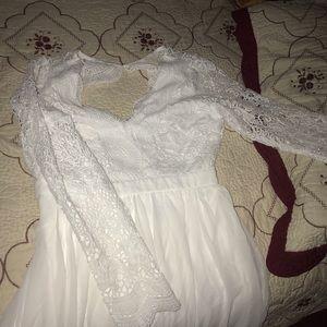 White long lace prom dress